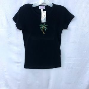 Flirty Girl Black Short Sleeve Palm Tree Bedazzled